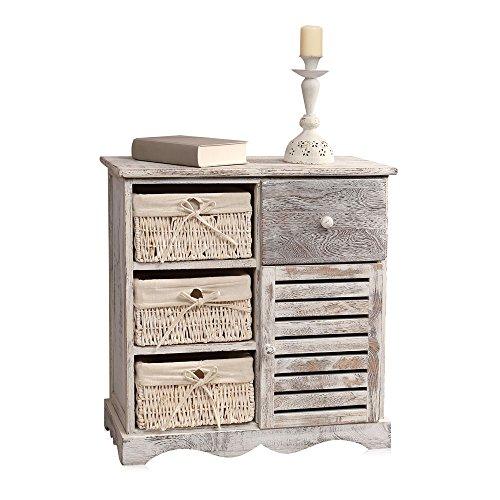 Melko Kommode Shabby Stil Schrank mit 3 Körben beige mit Tür + Schublade Highboard Flur 63 cm x 59,5 cm x 28 cm