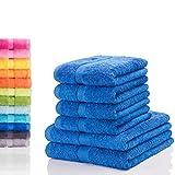 Etérea Carli 6 TLG. Handtuchset, 4X Handtücher, 2X Duschtücher - Blau|Qualitäts Frottierware 500 g/m² 100% Baumwolle