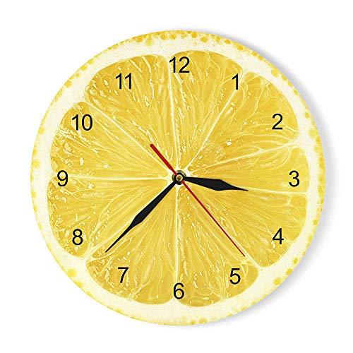 GZGJ Orologio da Parete Giallo Limone Frutta Orologio da Cucina Moderna Lime Orologio casa Arredamento Soggiorno Orologio da Parete Tropicale Frutta Arte Orologi