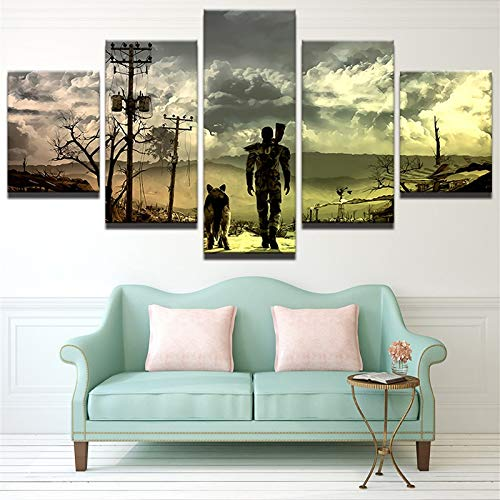 Immagine di Tableau per la Decorazione della casa Stampata su Tela a 5 Pannelli modulari di Arte...