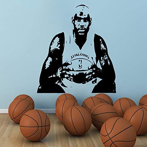 jiuyaomai Pallacanestro Grande Home Decor Player Jersey Stencil Cavaliers Adesivo murale Adesivo 4 57x64cm