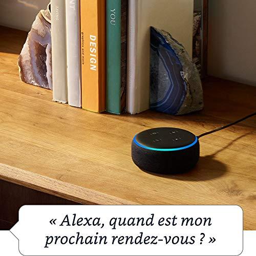 Nouvel Echo Dot (3ème génération), Tissu anthracite + Amazon Smart Plug (Prise connectée WiFi), Fonctionne avec Alexa 24