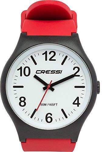 Cressi Watch Echo, Orologio Analogico Impermeabile 5 ATM Unisex, Nero/Bianco/Rosso, Unica