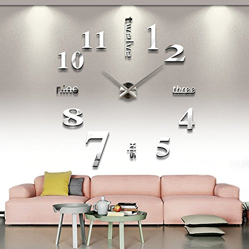 X-Rui Moderno fai da te grande parete 3D Sticker orologio per Arredo Casa Ufficio Argento