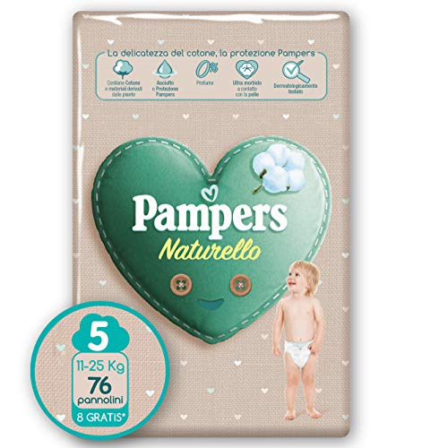 Pampers Naturello Junior, 76 Pannolini, Taglia 5 (11-25 kg)