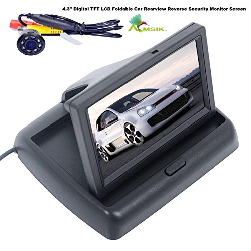 """Amsik 4.3"""" Digital TFT LCD Foldable Car Rearview Reverse Security Monitor Screen Parking Backup Camera, 16:9 High Definition Display Rearview Monitor for All Cars"""