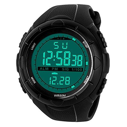 uomo sport orologio digitale - 5 barre impermeabile militare digitale orologi con allarme/timer/Sig,...
