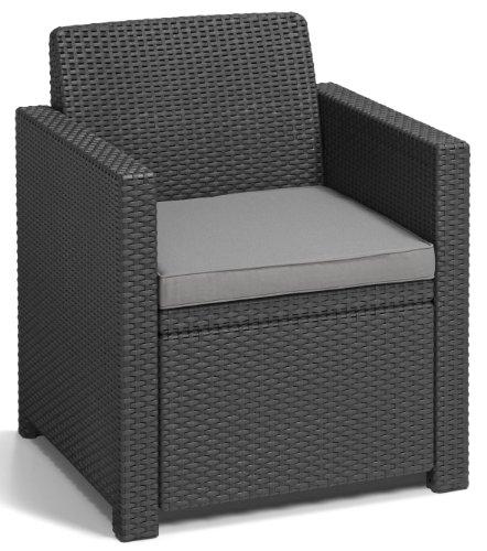 Allibert 219851 Lounge Set Merano (2 Sessel, 1 Sofa, 1 Tisch), Rattanoptik, Kunststoff, graphit - 2