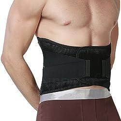 Apoyo lumbar con fuertes tirantes de doble banda, Faja para la Cintura/Espalda/Zona lumbar - Marca Neotech Care - Color Negro - Talla XXXL