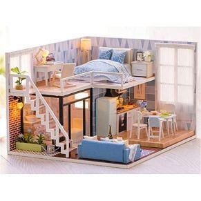 GSC-home Madera casa de muñecas Set-Woodcraft Construction Kit DIY-Miniatura de Madera Sala de Edificio Modelo Set-Mini…