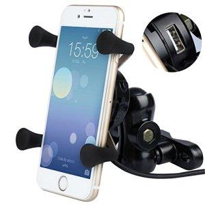 BlueFire Motorrad Handyhalterung, Universal X-Grip Aluminium 360°Drehbare Motorrad Handy Halter mit 5V 2,1A USB Ladegerät für Alle 3,5 Inch zu 6 Inch Handy GPS 1
