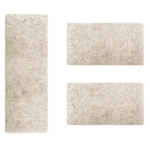 casa pura Scendiletto Sphinx | Tappeto Camera | Pelo Lungo | Set da 3 tappeti | Moderno | Bianco...