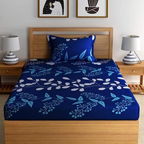 Home Ecstasy 100% Cotton Printed Bedsheet Set 3016 SGL (Blue,Single) 2