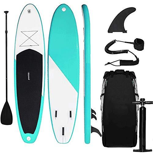 Triclicks Tabla Hinchable Paddle Surf/Sup Paddel Surf con Bomba, Mochila, Aleta Central Desprendible, Kit de Reparación, Remo Ajustable, La Cinta para Atar al Pie(300 * 75 * 15cm-Grosor)