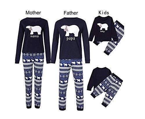 Conjunto de Pijamas Familiares de Navidad, Trajes Navideños para Mujeres Hombres Niño, Ropa Invierno Sudadera Chándal Suéter Niños de Navidad (Bebé-a, 90)