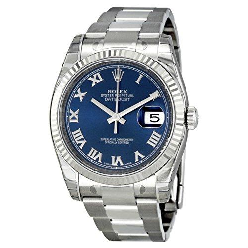 Rolex Edelstahl Automatisch Datejust Damen Uhr Weiß Stahl Lünette Zifferblatt Blau Gold
