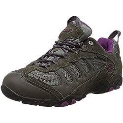 Hi-Tec Penrith Low Waterproof, Zapatillas de Senderismo Mujer, Gris (Charcoal/purple), 39 EU (6 UK)