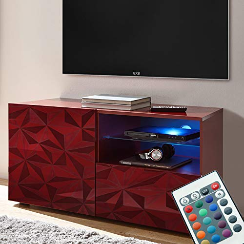 Kasalinea Mobile TV 120 cm con LED Design Laccato Rosso Nino 3