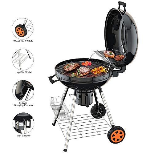 TACKLIFE Barbecue Charbon de Bois, 57cm Grill Portable à 2 Etagéres, Réversible Couvercle, 2Roues, Camping pour Grande Famille, CG01A