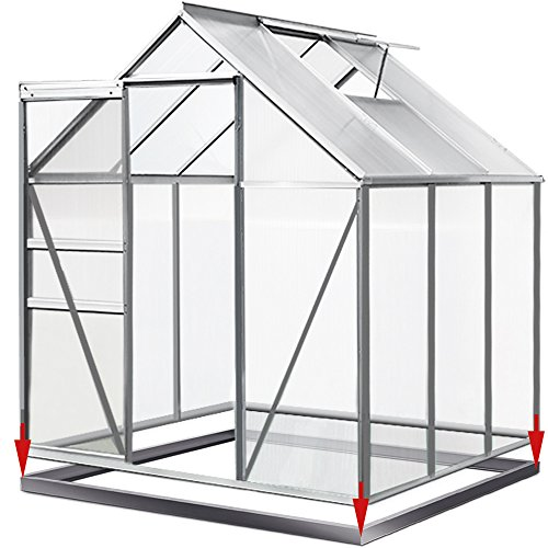 Deuba Aluminium Gewächshaus 5,85m³ | 190x195cm mit Fundament | Treibhaus Gartenhaus Frühbeet...
