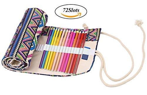 Coideal penna matite etnico tela Wrap,72carta matite custodia penna roll Holder (72fori matita...