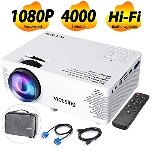 VicTsing Mini Beamer 2019 Upgraded Projektor 4000 Lumen Full HD 1080P tragbarer Heimkinoprojektor mit HiFi-Klangqualität Tasche Beamer kompatibel mit TV-Stick, PC, Laptop, USB / HDMI / VGA / SD / AV