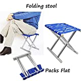 ZIZLY Portable Folding Stool, Super Strong Heavy Duty Outdoor Folding Chair, Camping Hiking Fishing Picnic Stool, Collapsible Camping Stool Mini for Travel, Garden Chair