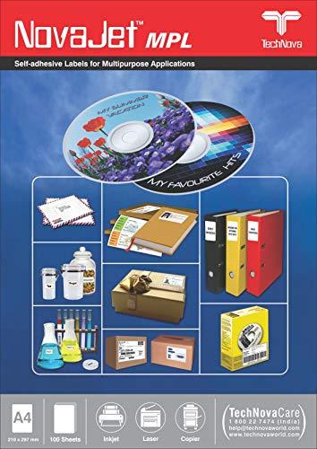 NOVAJET 2 CD Self Adhesive Paper Labels/Sticker (100 Sheets)