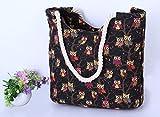 Rcdxing 1PC donne estate tela gufo stampato grande capacità borsa a tracolla zipper Beach handbag black + rosso