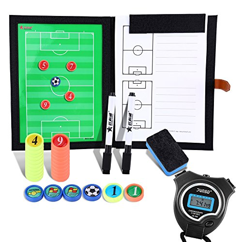 BizoeRade cartella tattica per allenatore di calcio con Cronometro,calcio tattica fogli con...