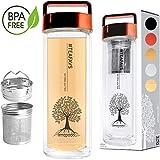 amapodo Teeflasche Glas doppelwandig mit Sieb - Glasflasche Trinkflasche Wasserflasche 400ml - Tee Flasche Teekanne mit Siebeinsatz & Deckel rot