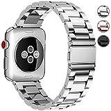 Fullmosa 3 Colori per Cinturino Apple Watch 42mm 38mm, Cinturino iWatch in Acciaio Inossidabile Cinturino Apple Watch Series1 Series 2, Series 3, 38mm Argento