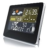 CSL - Funk Wetterstation mit Farbdisplay | inkl. Außensensor | DCF Empfangssignal Funkuhr | Innen- und Außentemperatur Wettervorhersage-Piktogramm UVM. | LCD-Display