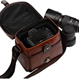 Camera Bag,FOME Vintage Look Britpop DSLR Camera Bag PU Leather for Canon Nikon Sony Pentax Dark Brown + FOME Gift
