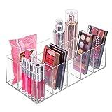 mDesign Organizador de maquillaje - Caja transparente con 6 compartimentos - Ideal para guardar maquillaje, cosméticos y productos de belleza - Plástico transparente