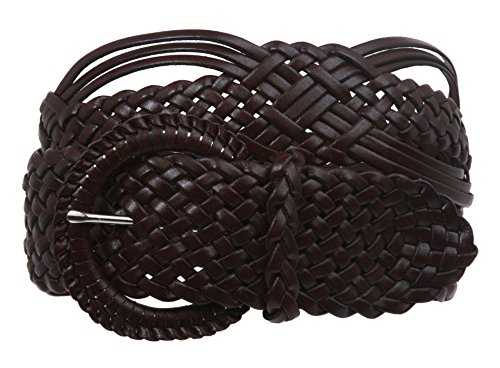 """beltiscool 2""""(50mm) cinturón de tejido trenzado de piel auténtica - Marrón -"""