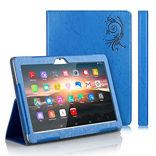 TOSCiDO Custodia per Tablet 10 Flip Cover PU in Pelle e fondello in Acrilico, Tablet W109,K108 - Blu