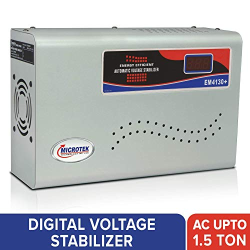 Microtek EM4130+ Automatic Voltage Stabilizer for AC up to 1.5 ton (130V-300V), Metallic Grey - Digital Display, Wall Mounted