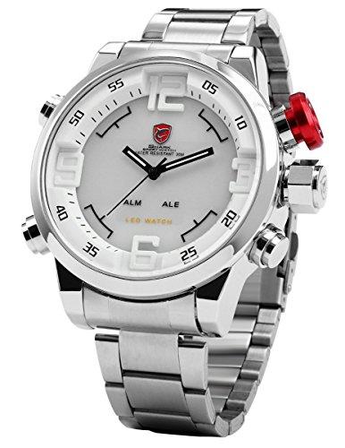 Shark SH104 - LED Reloj Hombre de Cuarzo, Correa de Acero Inoxidable Plateado