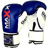 Maxx Blue/White boxing gloves Junior kids & adult sizes Rex leather 4oz - 16oz (16oz)