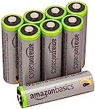 AmazonBasics High Capacity AA Pre-Charged Rechargeable Batteries 2500 mAh / minimum: 2400 mAh [Pack of 8] - Outer Jacket May Vary