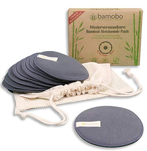 Waschbare Abschminkpads Bambus ♻️ XL 10CM - 10 STUCK ♻️ Makeup Abschminktücher Wiederverwendbar   Bambus Aktivkohle Wattepads   Groß   Antibakteriell   Hypoallergen   Umweltfreundlich   BAMOBO