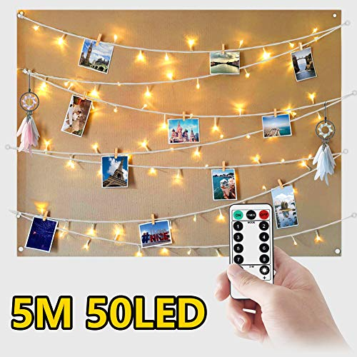 WEARXI Luci Led per Clip Foto - 5M 50 LED Impermeabile 8 Modalità Lucine per Polaroid Led...