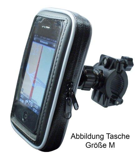 """Fahrrad- und Motorrad-Halterung mit Schutz-Tasche für Smartphone, Navigator, Handy, MP3 Player - Display-Diagonale: 5,5\"""" - Höhe bis 15,5cm / Breite bis 8,6cm / Tiefe bis 1,8cm - Schutzhülle Spritzwasser geschützt!"""