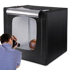 Amzdeal caja de luz fotografia 80 x 80 cmcubo de luz para fotografía profesional con 3 fondos(blanco, negro, naranja)