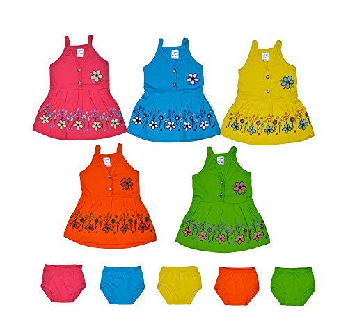 Sathiyas Baby Girls Dresses (Pack of 5) (0-6 Months)