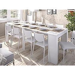 LIQUIDATODO ® - Mesa consola extensible moderna y barata de 51 cm a 239 cm en blanco brillo