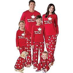 BaZhaHei-Navidad Familia Pijamas Ropa de Dormir Conjunto de Mujeres mamá Papá Noel Remata Blusa Pantalones Conjunto de Pijama de Manga Larga con Paquete Familiar de Papá Noel para Mujer Vacaciones