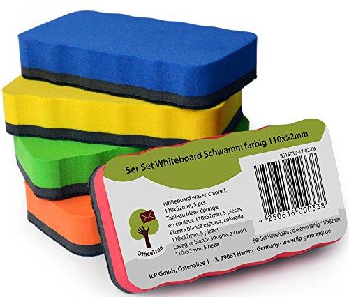 Set da 5 spugne per lavagna OfficeTree - 5 colori - magnetiche - pulisce in modo asciutto ed...