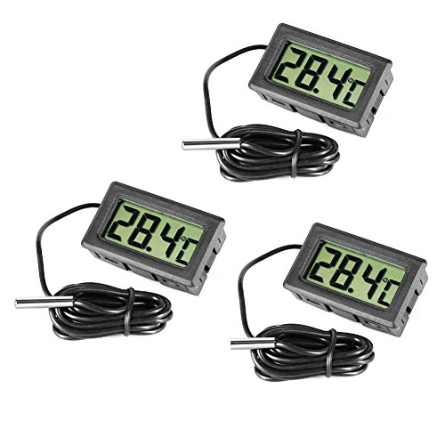 Inrigorous, 3 termometri digitali neri in acciaio per frigorifero e congelatore, con monitor per la...